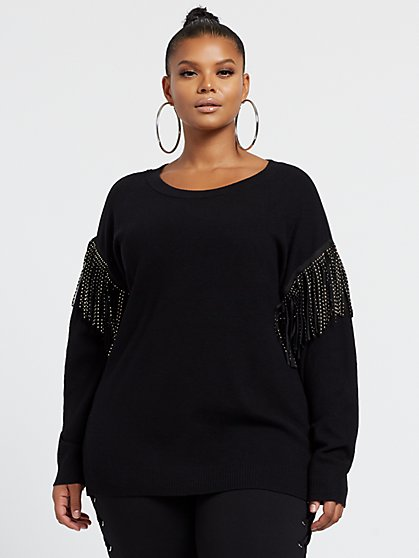 Plus Size Rachel Fringe Sleeve Pullover Sweater - Fashion To Figure