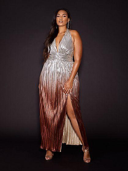 Plus Size Rachel Ombre Metallic Halter Maxi Dress - Gabrielle Union x FTF - Fashion To Figure