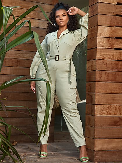 Plus Size Rachel Utility Twill Jumpsuit - Fashion To Figure