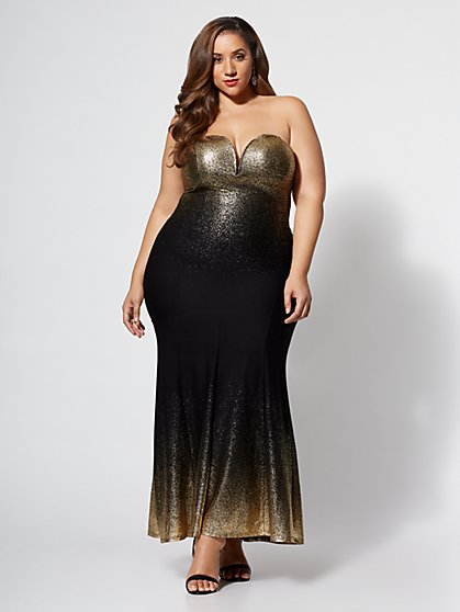 Plus Size Rachelle Ombre Gold Gown - Fashion To Figure