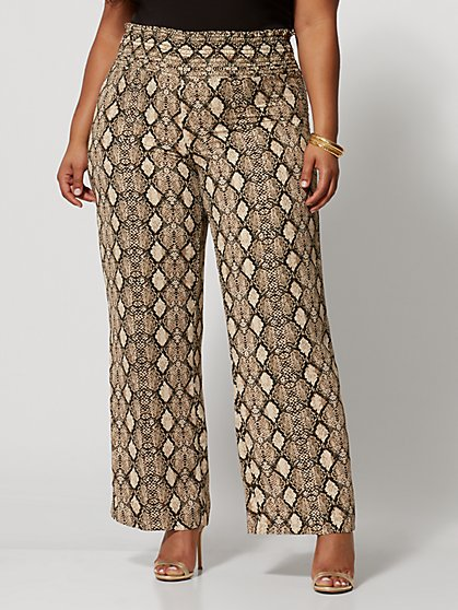 Plus Size Rachelle Snake Print Wide Leg Pants - Fashion To Figure