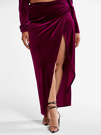 Plus Size Rachelle Velvet Maxi Skirt - Fashion To Figure
