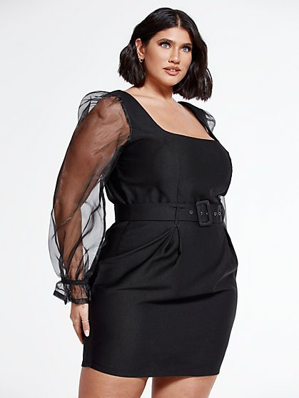 Plus Size Rae Mixed Media Belted Dress - Fashion To Figure