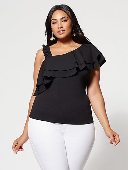 Plus Size Rae One-Shoulder Tank Top - Fashion To Figure