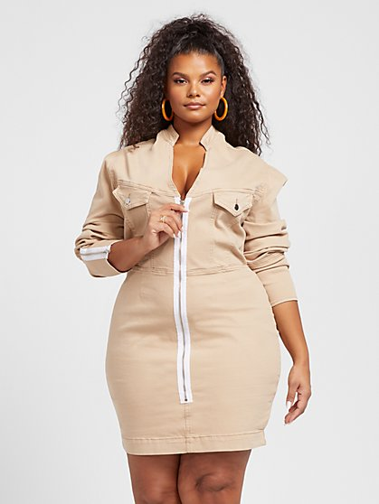 Plus Size Raina Zip Front Denim Dress - Fashion To Figure