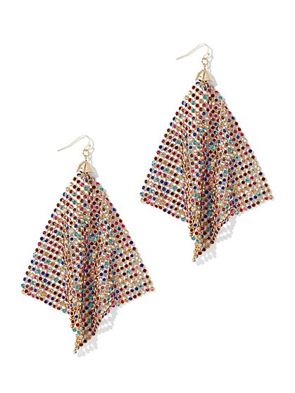 Plus Size Rainbow Gold Mesh Earrings - Fashion To Figure