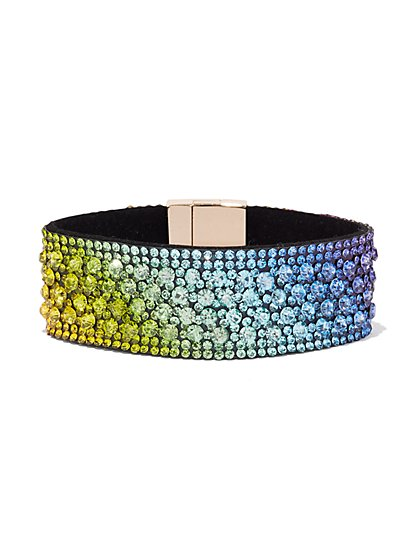 Plus Size Rainbow Rhinestone Bracelet - Fashion To Figure