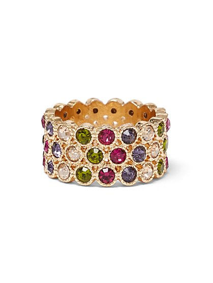 Plus Size Rainbow Rhinestone Gold-Tone Ring - Fashion To Figure