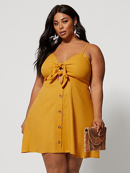 Plus Size Ramona Tie-Front Linen Dress - Fashion To Figure