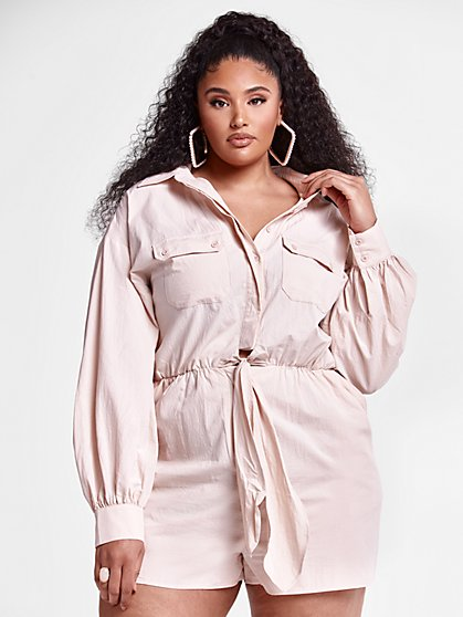 Plus Size Raquel Tie Front Romper - Fashion To Figure