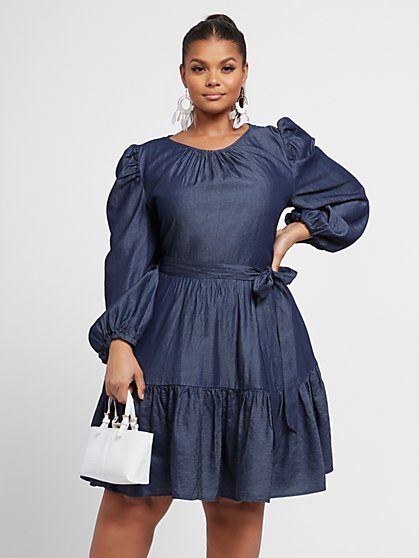 Plus Size Ravina Dark Wash Poplin Tie-Front Dress - Fashion To Figure