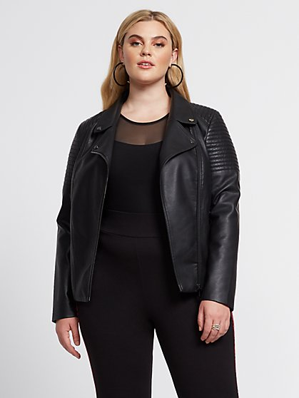 Plus Size Rayna Faux-Leather Moto Jacket - Fashion To Figure