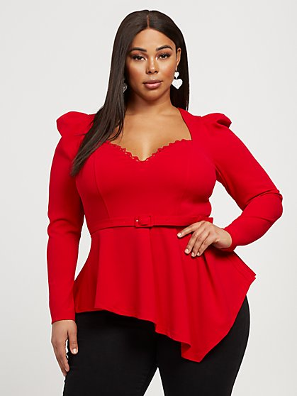 Plus Size Rebecca Long Sleeve Asymmetrical Peplum Top - Fashion To Figure