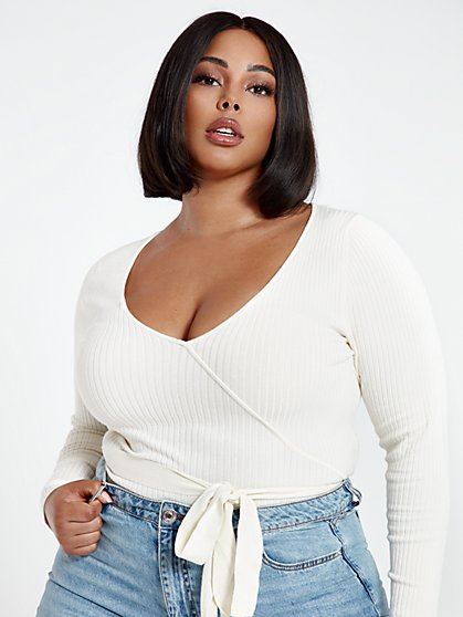 Plus Size Rebecca Rib Knit Bodysuit with Belt - Fashion To Figure