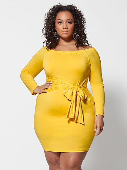 Plus Size Rebekka Off Shoulder Tie-Waist Dress - Fashion To Figure