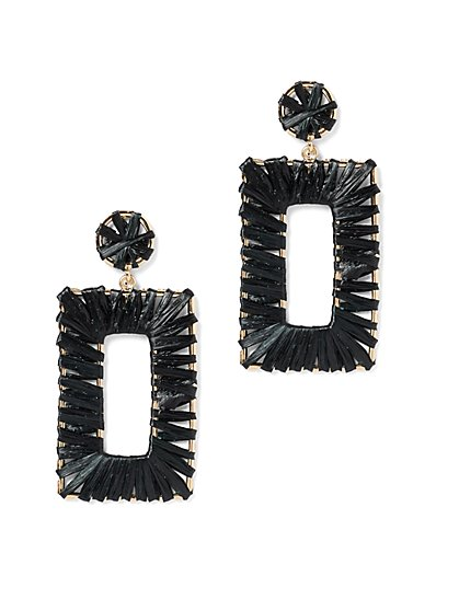 Plus Size Rectangular Straw Dangle Earrings - Fashion To Figure