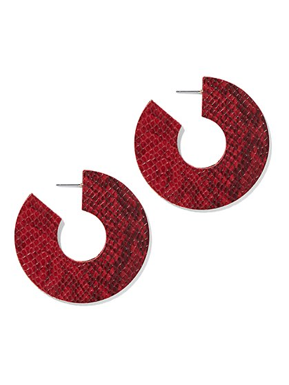 Plus Size Red Faux-Croc Hoop Earrings - Fashion To Figure