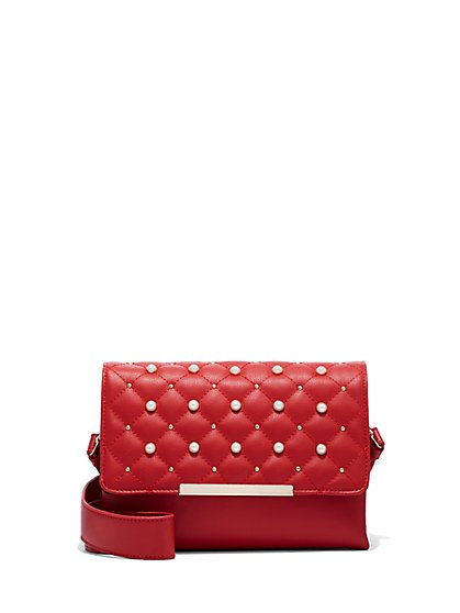 Plus Size Red Faux-Pearl Bag - Fashion To Figure