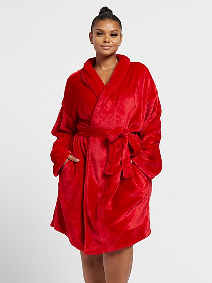 Plus Size Red Fleece Robe - Fashion To Figure