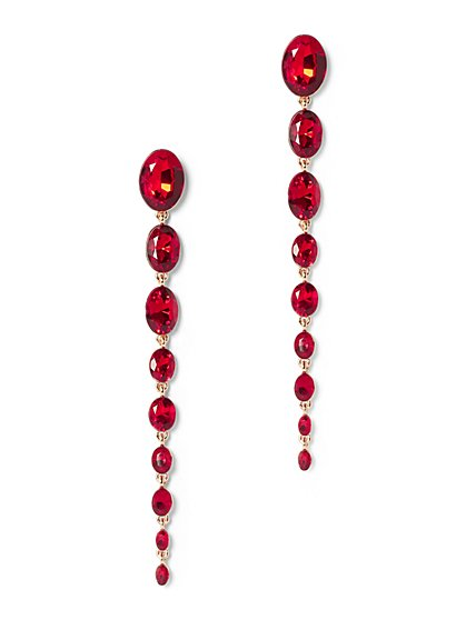 Plus Size Red Rhinestone Drop Earring - Fashion To Figure
