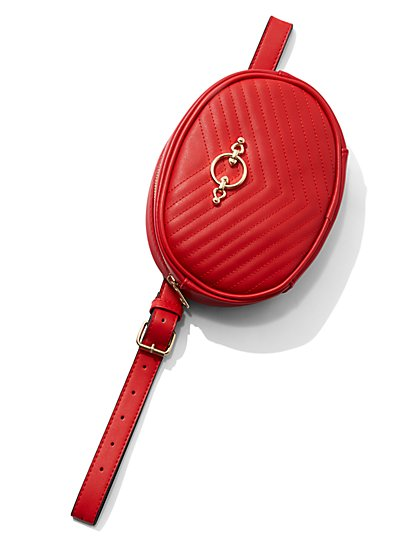 Plus Size Red Zip Fanny Pack Belt - Fashion To Figure