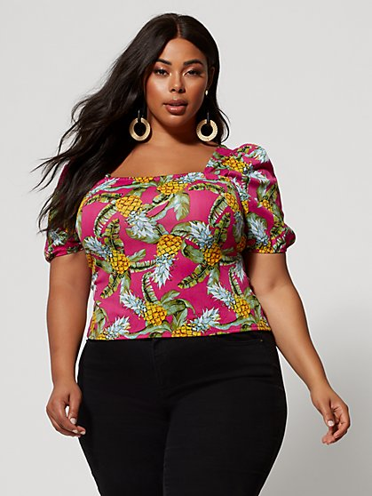 6d81f7d93cd Plus Size Regina Pineapple Puff Sleeve Top - Fashion To Figure ...