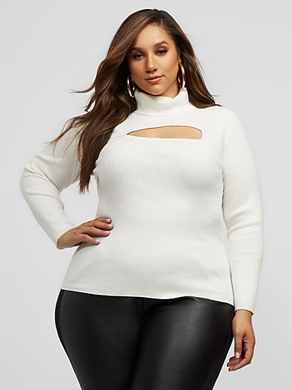 Plus Size Reign Cut-Out Turtleneck Sweater - Fashion To Figure
