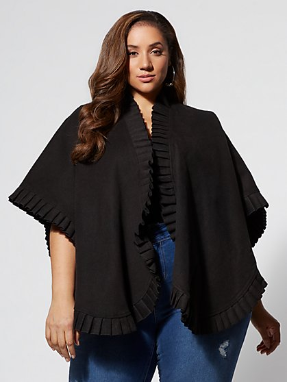 Plus Size Remi Ruffle-Trim Ruana - Fashion To Figure