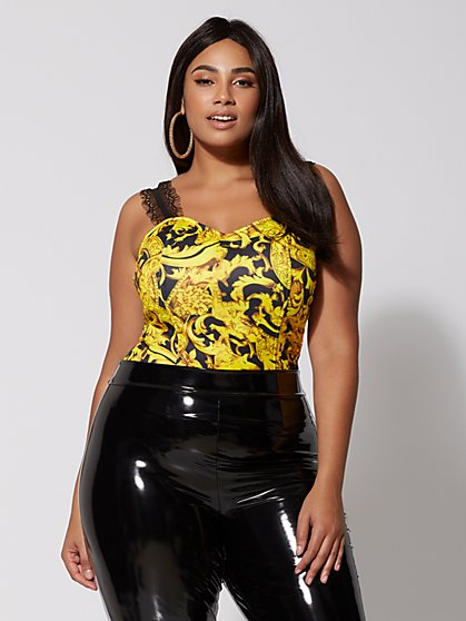 Plus Size René Status-Print Bustier Top - Fashion To Figure