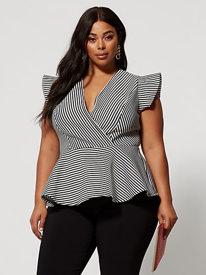 6596d7a916b9 Plus Size Renata Stripe Peplum Top - Fashion To Figure ...