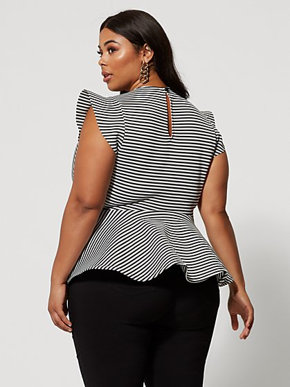 1fa185c454c ... Plus Size Renata Stripe Peplum Top - Fashion To Figure ...