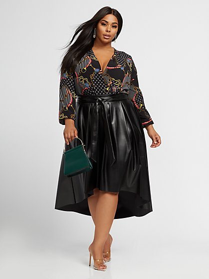 Plus Size Renee Faux-Leather Hi-Lo Skirt - Fashion To Figure