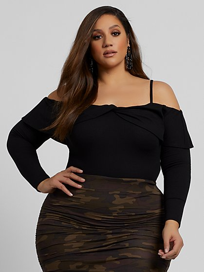 Plus Size Rey Rib-Knit Cold Shoulder Top - Fashion To Figure