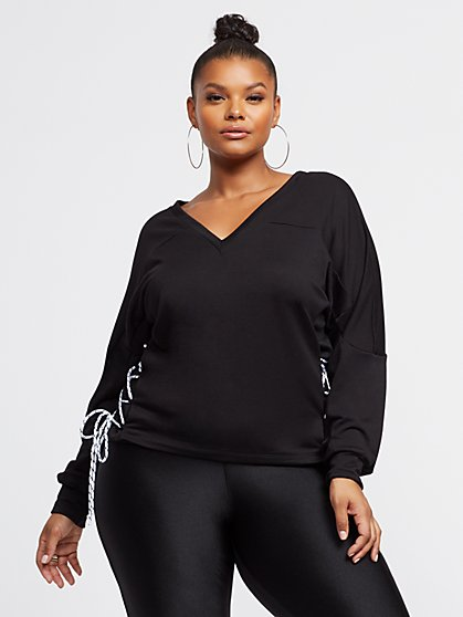 Plus Size Rheta Lace-Up Detail Sweatshirt - Fashion To Figure