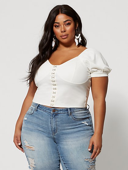 Plus Size Rhiannon Puff Sleeve Hook Front Top - Fashion To Figure
