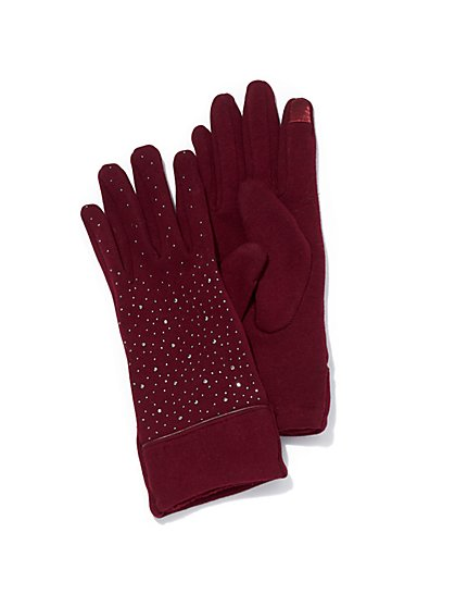 Plus Size Rhinestone-Accented Gloves - Fashion To Figure
