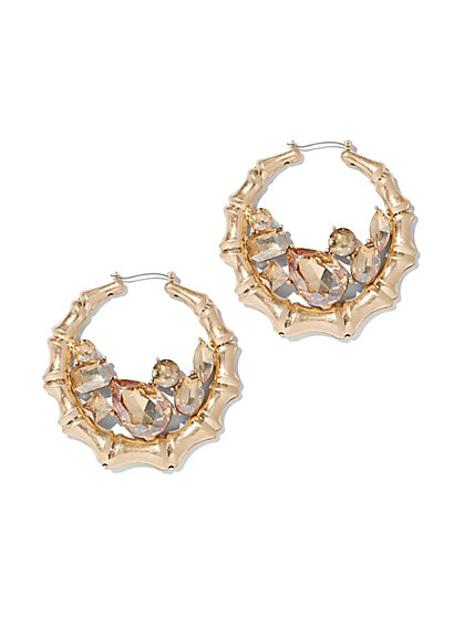 Plus Size Rhinestone Bamboo Hoop Earrings - Fashion To Figure