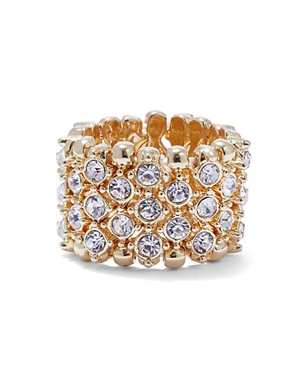Plus Size Rhinestone Band Ring - Fashion To Figure