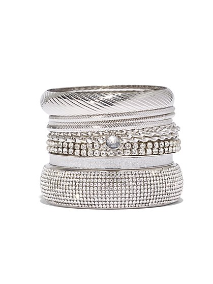 Plus Size Rhinestone Bangle Set - Fashion To Figure