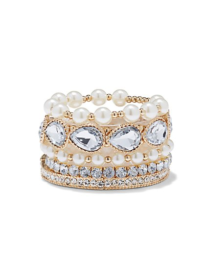 Plus Size Rhinestone Bracelet Set - Fashion To Figure