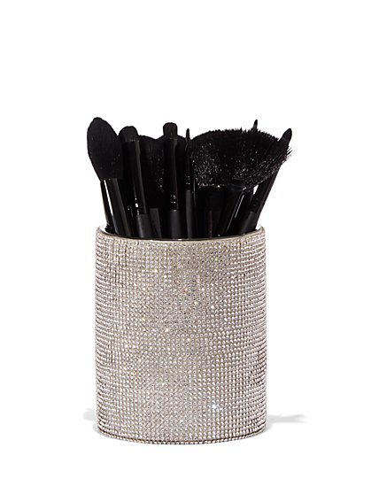 Plus Size Rhinestone Ceramic Makeup Brush Cup - Fashion To Figure