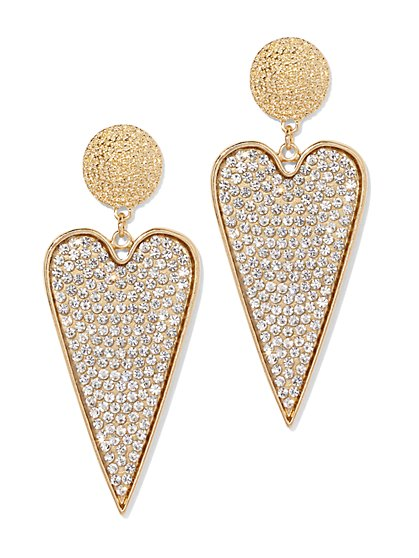 Plus Size Rhinestone Dangle Heart Earring - Fashion To Figure