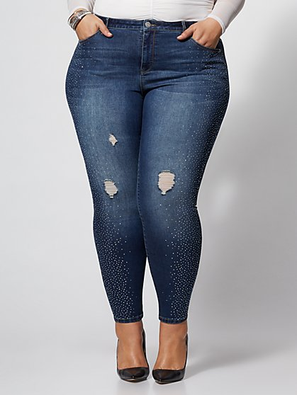 Plus Size Rhinestone-Detail Skinny Jeans - Fashion To Figure