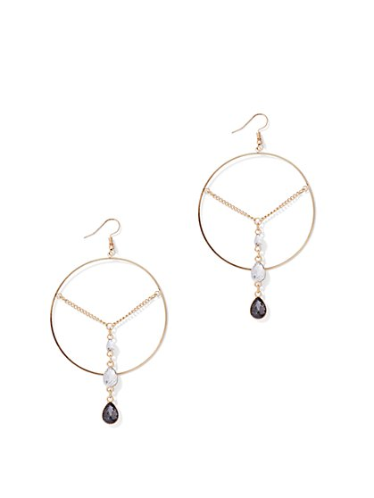 Plus Size Rhinestone Drop Hoop Earrings - Fashion To Figure