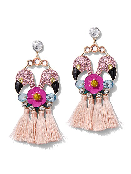 Plus Size Rhinestone Flamingo Earring - Fashion To Figure