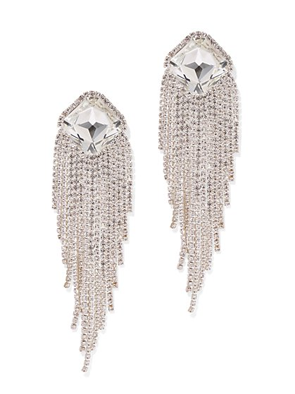 Plus Size Rhinestone Fringe Clip Earring - Fashion To Figure