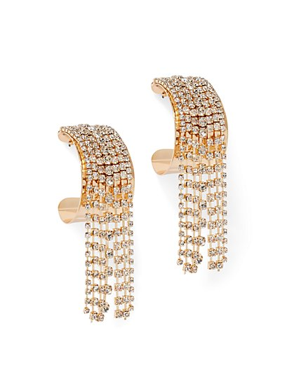 Plus Size Rhinestone Fringe Hoop Earrings - Fashion To Figure