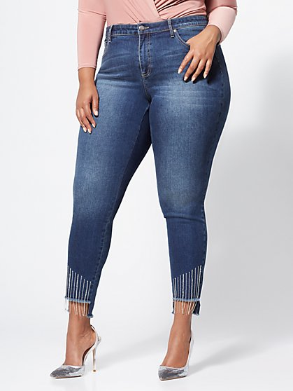Plus Size Rhinestone Fringe Skinny Jeans - Fashion To Figure