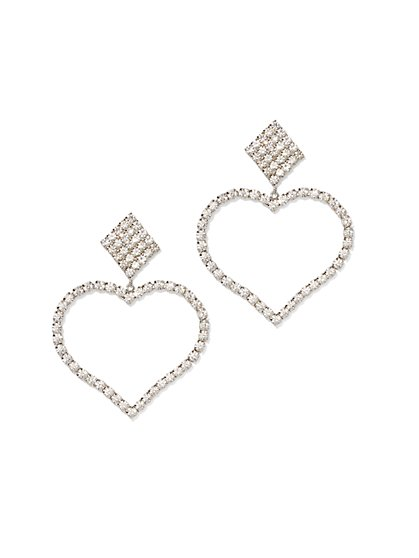 Plus Size Rhinestone Heart Drama Earring - Fashion To Figure