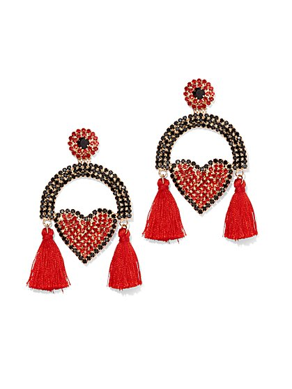 Plus Size Rhinestone Heart Fringe Earring - Fashion To Figure